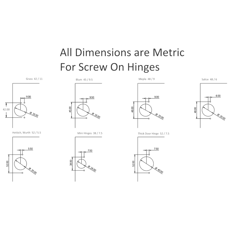 Hinge Hole Dimensions for Screw On Hinges