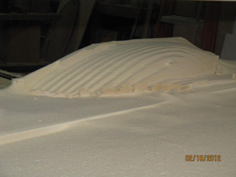 Midway through Machining RenFoam Sailboat