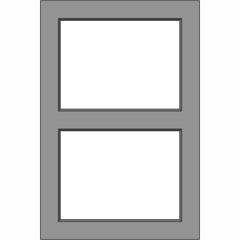 G103 Glass Door 2 Lite with Horizontal Mid Rail Face View