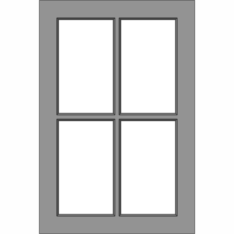 G104 Glass Door 4 Lite Face View