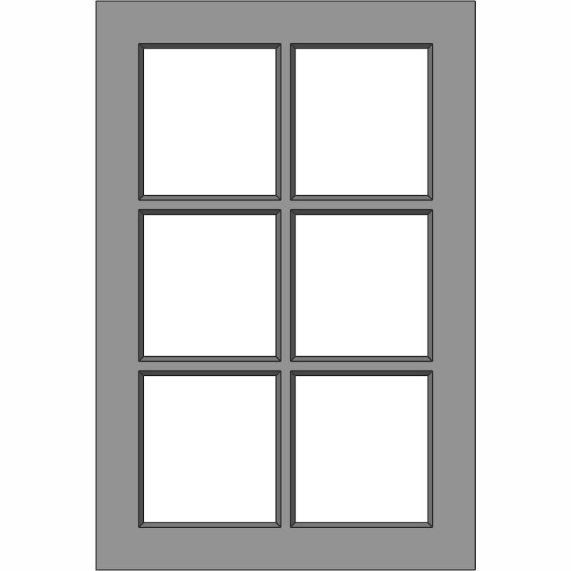 G105 Glass Door 6 Lite Front View