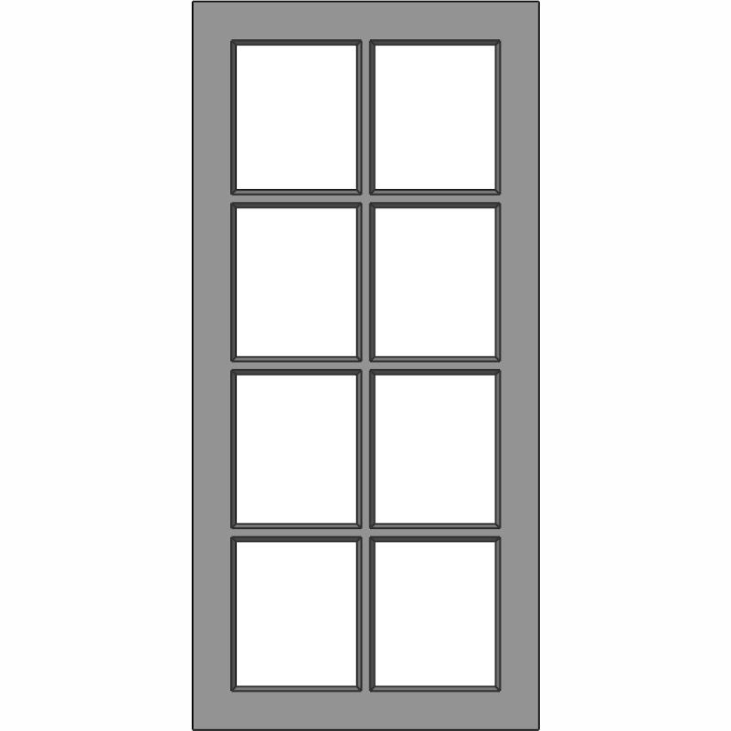 G107 8 Lite MDF Glass Door Face View