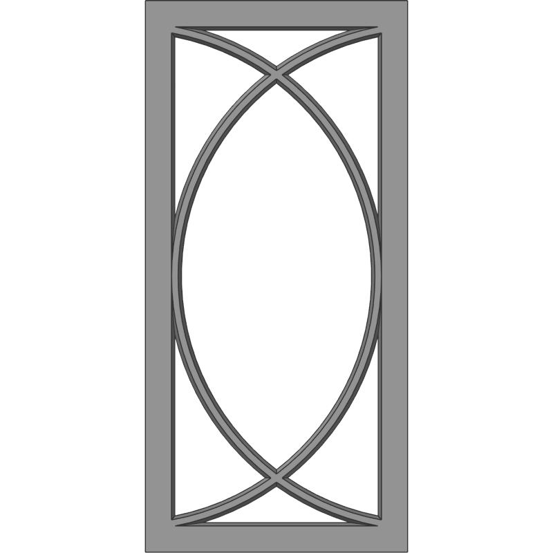 Glass Door 108 Double D Face View