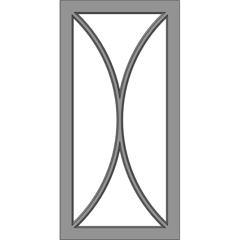 Glass Door 110 Mirror D Face View