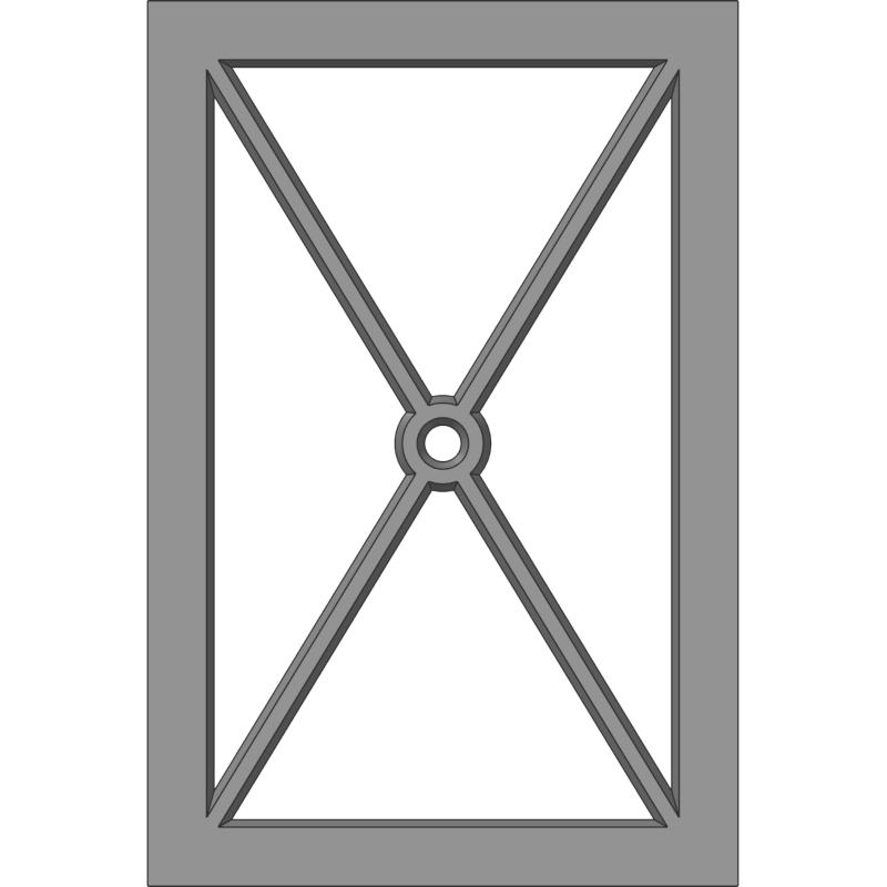 Glass Door 112 Full X -Center Hole Face View