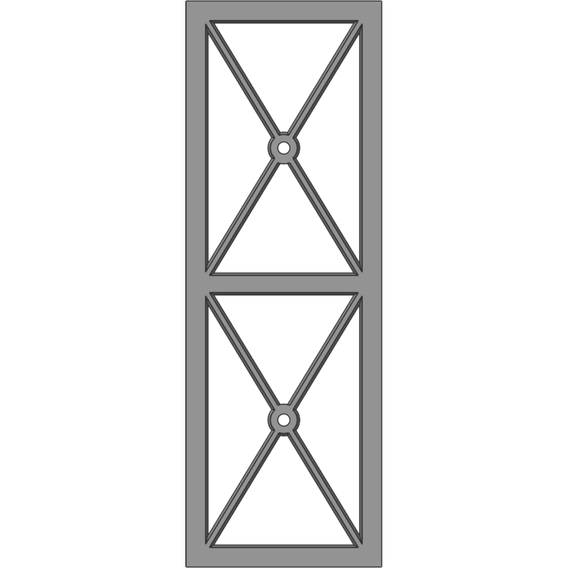Glass Door 113 Stacked Full X -Center Hole Face View