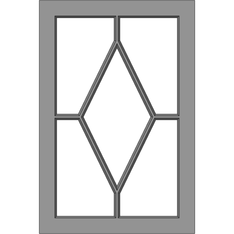 Glass Door 116 Floating Diamond Face View