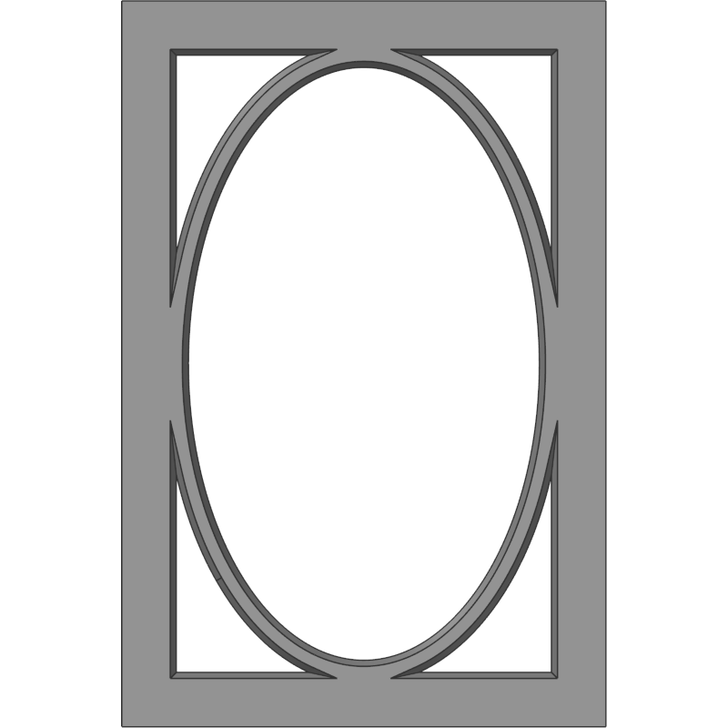 Glass Door 118 Oval Face View