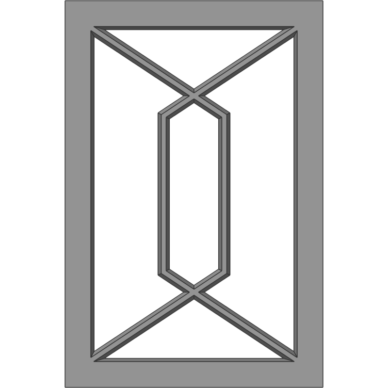 """Glass Door 121 Intersecting Geometric """"D"""" Face View"""